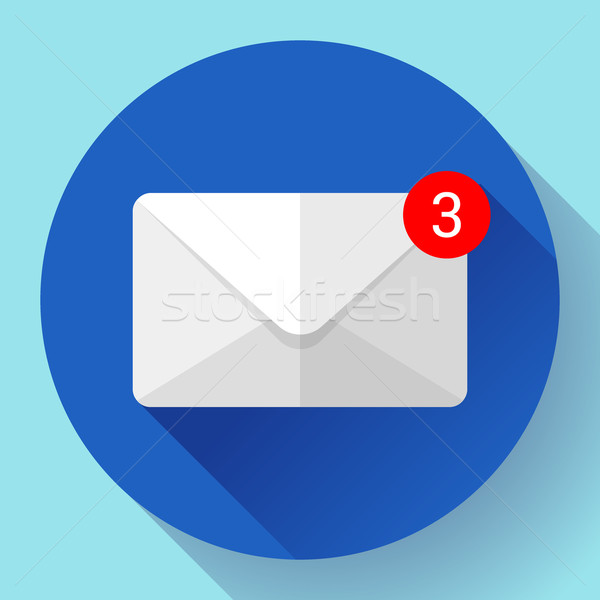 Envelope Mail Icon new letter sms message notification Flat 2.0 design style. Stock photo © MarySan