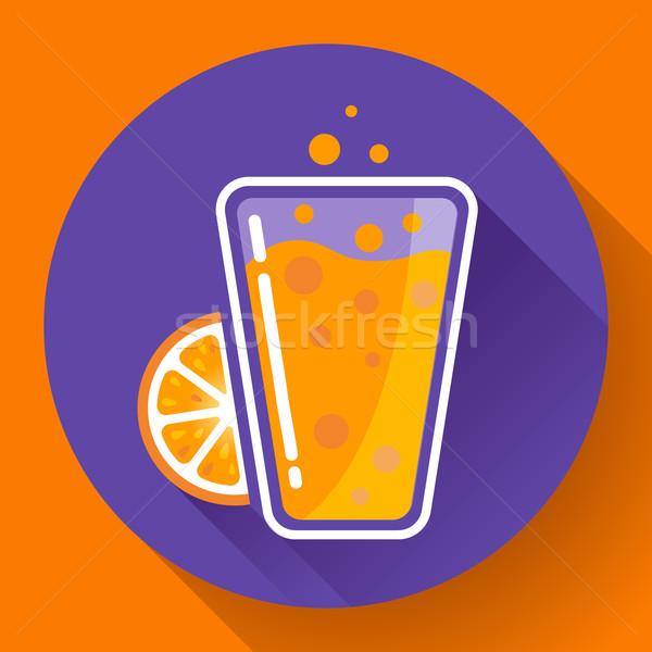 Buzlu çay içmek ikon portakal suyu cam turuncu Stok fotoğraf © MarySan