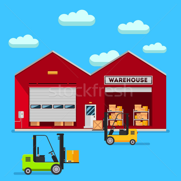 Warehouse infographic vector flat design. Stock photo © MarySan