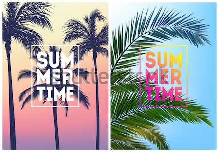 Summer tropical background with palms, sky and sunset. Summer placard poster flyer invitation card.  Stock photo © MarySan