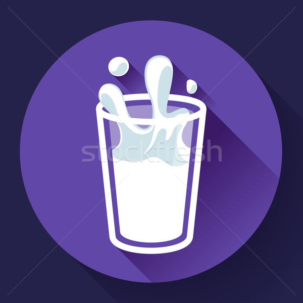 Stockfoto: Glas · melk · splash · vector · icon · stijl