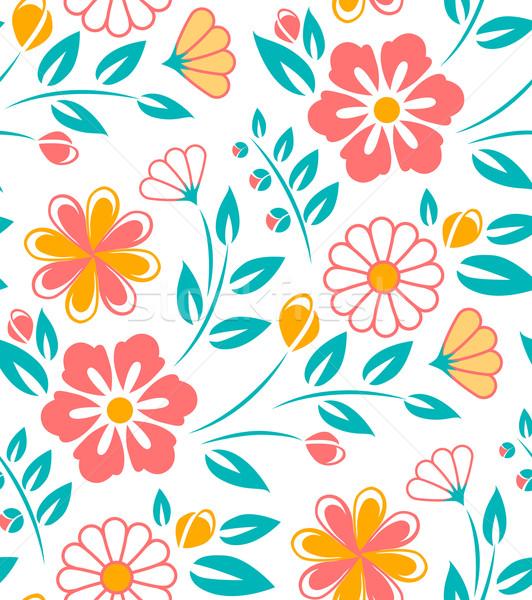 Bezszwowy wzór kwiatowy biały stylu kwiat baby Zdjęcia stock © MarySan