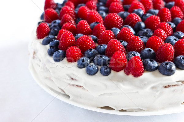 Stockfoto: Romig · zoete · cake · bosbessen · frambozen · chocolade