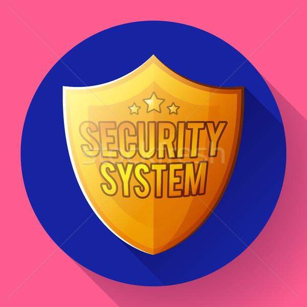 Gold shield icon - protection symbol. Flat design style. Stock photo © MarySan