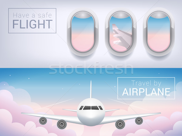 airplane window, the tourist banner. Passenger airplane in the sky clouds, safe flight across the sk Stock photo © MarySan
