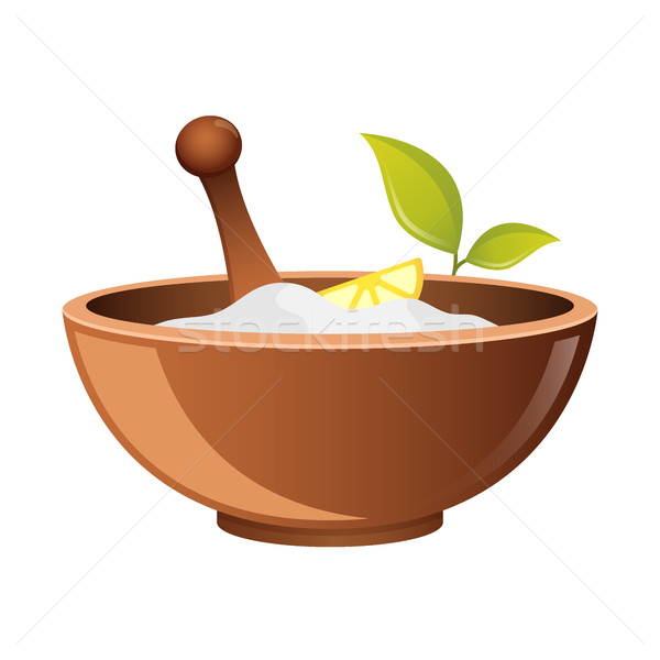 Clay in cup for Spa vector icon for web. Bowl for cosmetics. Natural Pharmacy symbo. natural cosmeti Stock photo © MarySan