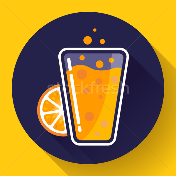 Flat ice tea drink icon. Orange juice glass Stock photo © MarySan