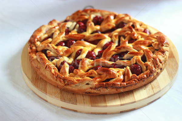 Stock photo: Homemade cherry pie with decorative lattice top