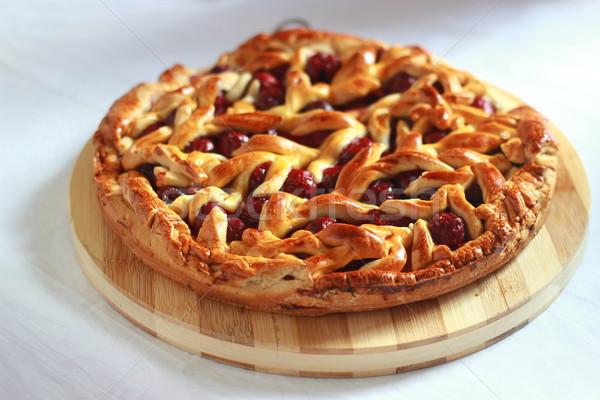 Homemade cherry pie with decorative lattice top Stock photo © MarySan
