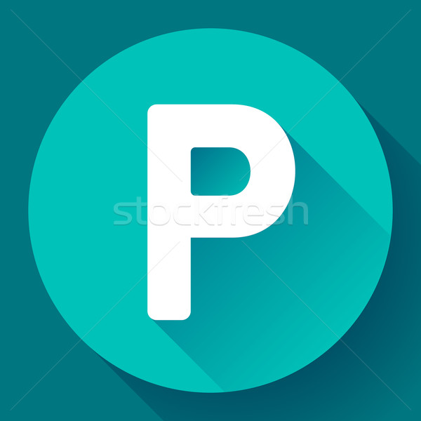 Parkolóhely felirat ikon stílus vektor autó Stock fotó © MarySan