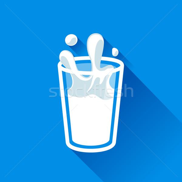 üveg tej csobbanás vektor ikon stílus Stock fotó © MarySan