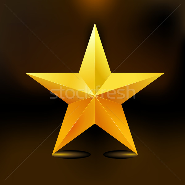 Single golden star shine on dark background Stock photo © MarySan