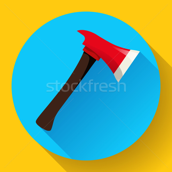 Red fire ax icon flat style Stock photo © MarySan