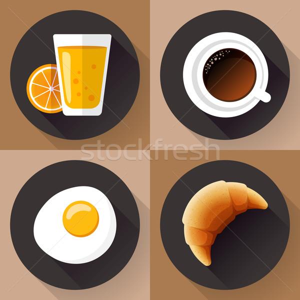 Reggeli ikon gyűjtemény dzsúz üveg kávé tojás Stock fotó © MarySan