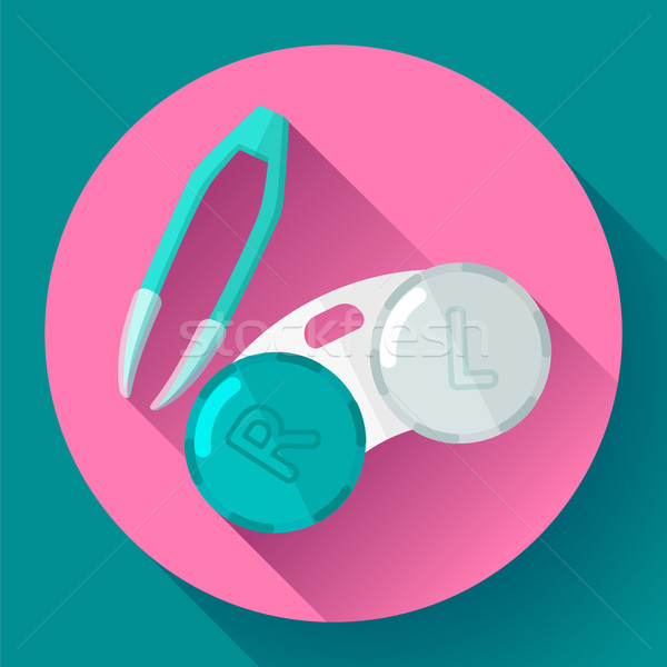 Contact lens case. Container and tweezers, for contact lenses  Flat icon Stock photo © MarySan
