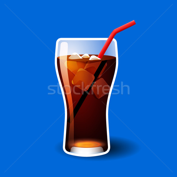 Cola or soda glass with ice cubes isolated on blue Stock photo © MarySan