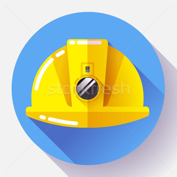 Yellow construction worker helmet with flashlight icon. Flat design style. Stock photo © MarySan