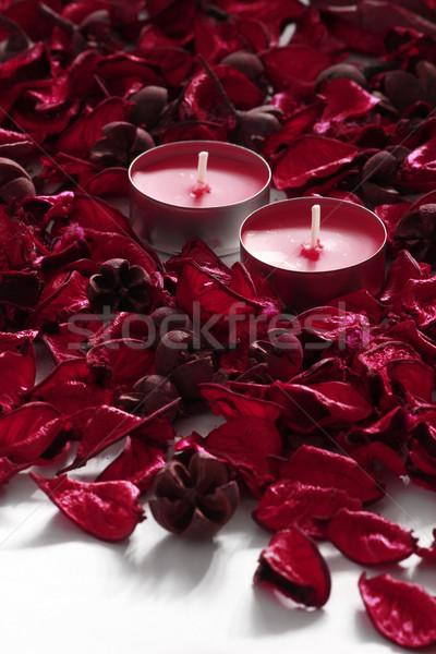 Kırmızı gül yaprakları mumlar beyaz çiçek yangın Stok fotoğraf © MarySan