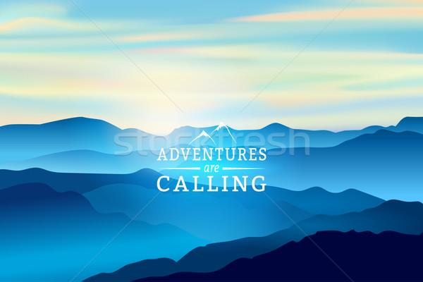 Stockfoto: Blauw · zonsopgang · bergen · vector · teken · roepen