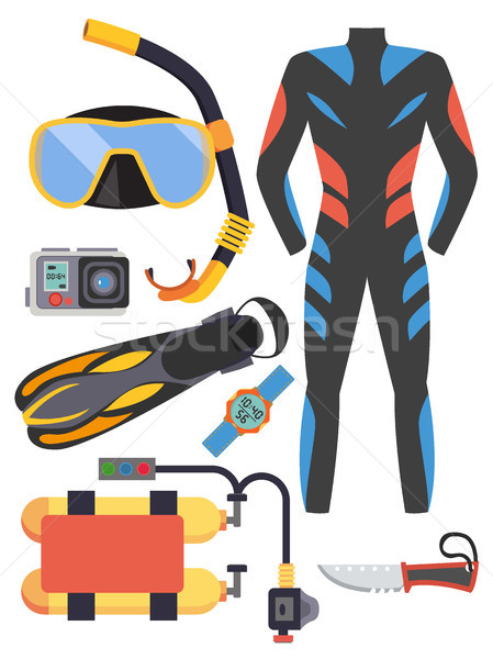 Snorkeling and scuba diving set of elements. Scuba-diving gear isolated. Diver wetsuit, scuba mask,  Stock photo © MarySan