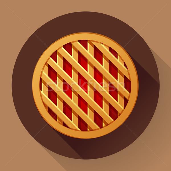 Sweet apple pie icon. Flat designed style Stock photo © MarySan