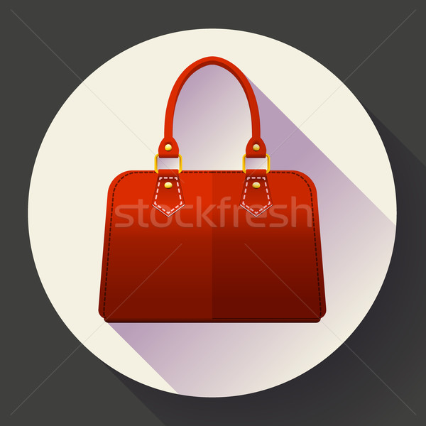 Red fashion women hand bag icon. Flat design style. Stock photo © MarySan