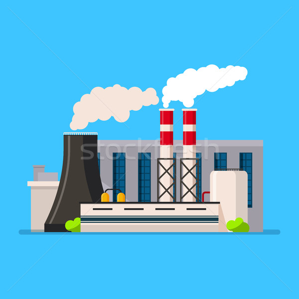Factory building icon vector flat style. Manufacturing buildings. Stock photo © MarySan