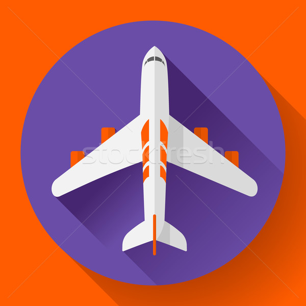 Airplane delivery vector icon. Flat design style Stock photo © MarySan