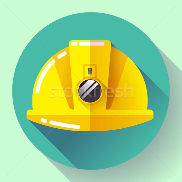 Citromsárga építőmunkás sisak elemlámpa ikon terv Stock fotó © MarySan