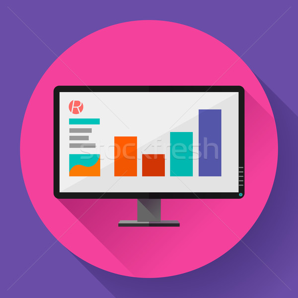 Computer monitor display wide screen icon. Presentation. Flat design style. Stock photo © MarySan