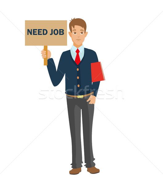 Disoccupati uomo cv bisogno lavoro rosso Foto d'archivio © MarySan