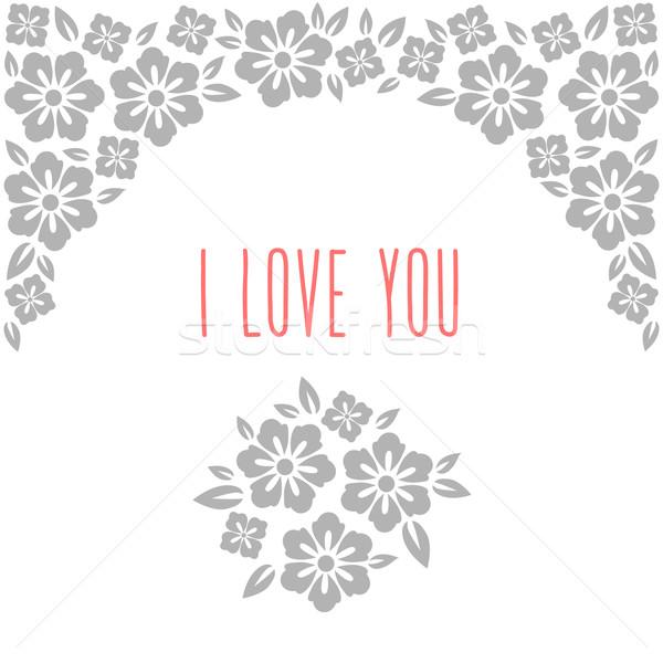 Blume Hochzeitseinladung Karte sparen Datum Gruß Stock foto © MarySan