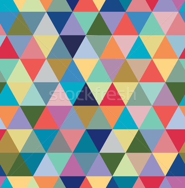 Stock photo: Seamless retro pattern of geometric shapes. Colorful mosaic backdrop.