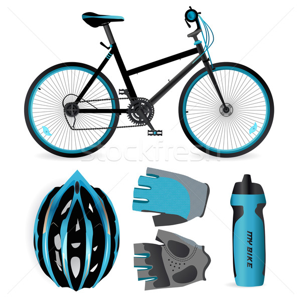 Bike or Bicycle accessories. Helmet, gloves and water bottle Stock photo © MarySan