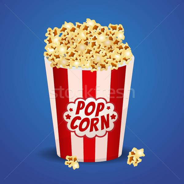 Popcorn czerwony pasiasty wiadro polu strony Zdjęcia stock © MarySan