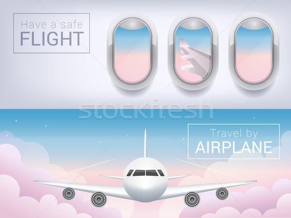 airplane window, the tourist banner. Airplane in the clouds, safe flight across the sky. Stock photo © MarySan