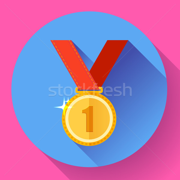 Gold medal icon - first place. Flat design style. Stock photo © MarySan