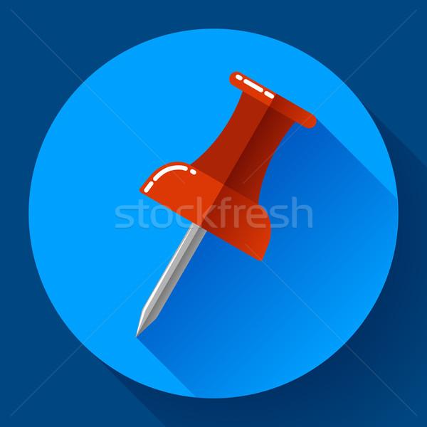 Flat Push pin icon vector Stock photo © MarySan