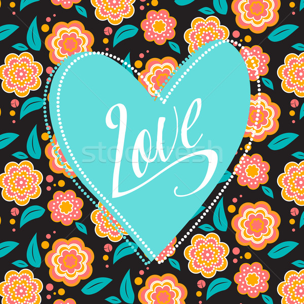 Postcard with turquoise heart on dark floral pattern. Wedding card. Sign Love. Seamless pattern insi Stock photo © MarySan