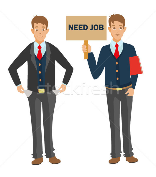 Unemployed man with CV need job and money Stock photo © MarySan