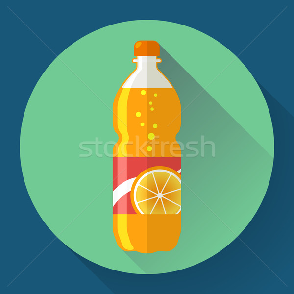 Vector bottle with orange soda liquid. Flat designed style Stock photo © MarySan
