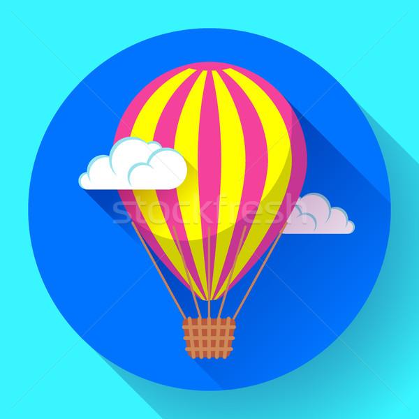 hot air balloon icon in the sky vector Stock photo © MarySan