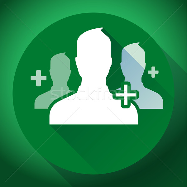 Teamwork, association of green people icon. Flat design style Stock photo © MarySan