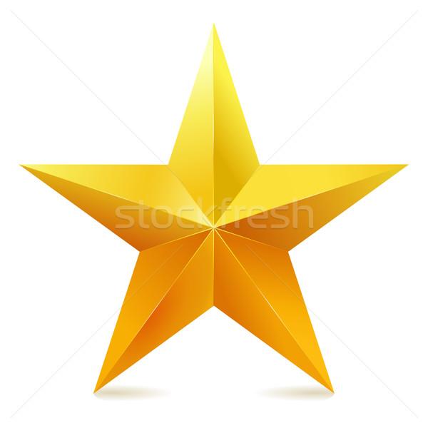 Arany csillag csillogás fehér fém arany Stock fotó © MarySan