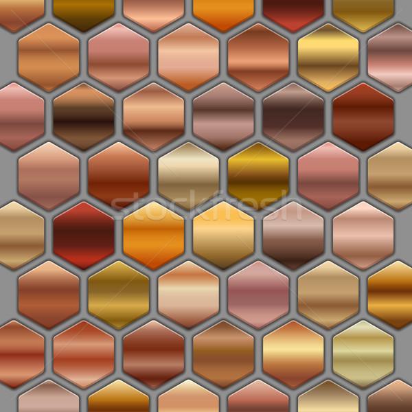 Bronze roze gold gradients set in hexagons. BIG Collection of beige gradient illustrations Stock photo © MarySan