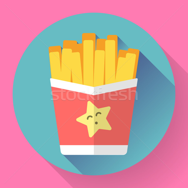 French fried potato in paper box. Fast food vector icon. Flat designed style. Stock photo © MarySan