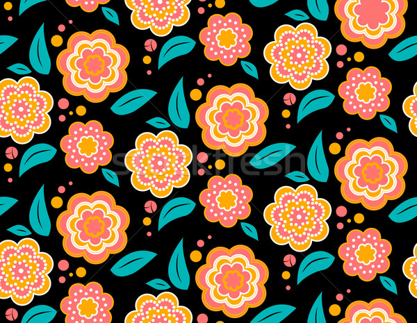 Seamless spring flower pattern on black background. Ukrainian style Stock photo © MarySan