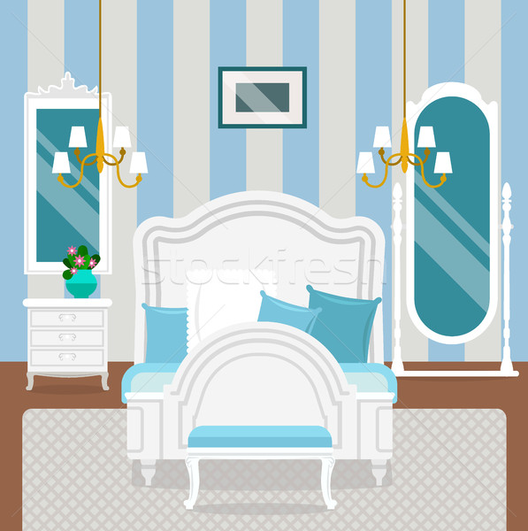 Bedroom interior with furniture in classic style. Stock photo © MarySan