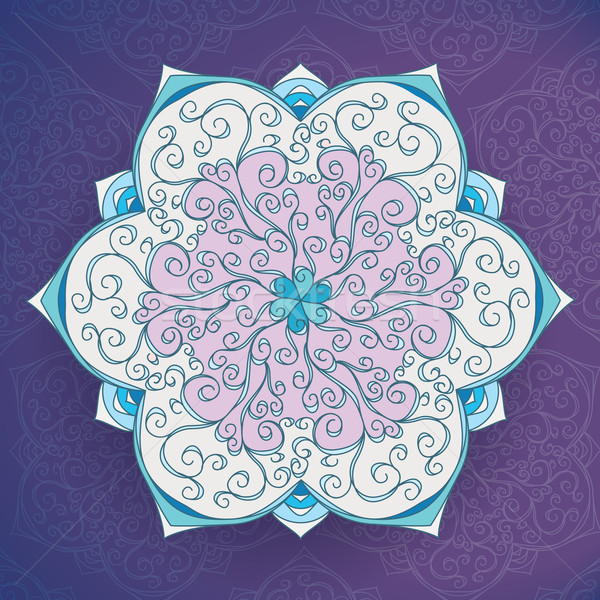 Iced Vintage Floral mandala vector card. Cold tone Stock photo © MarySan