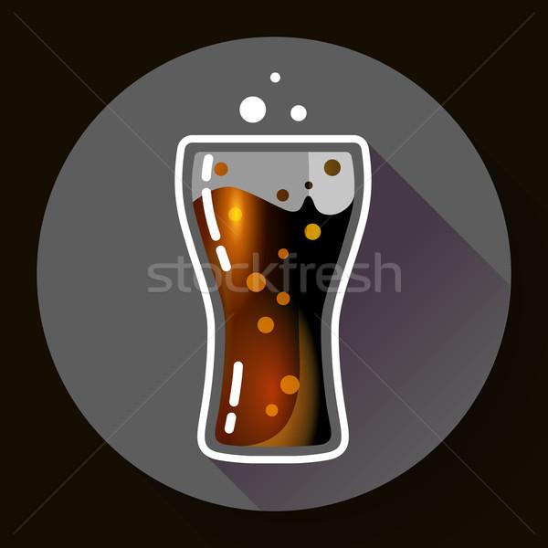 Cola splash or soda glass with bubbles icon flat Stock photo © MarySan